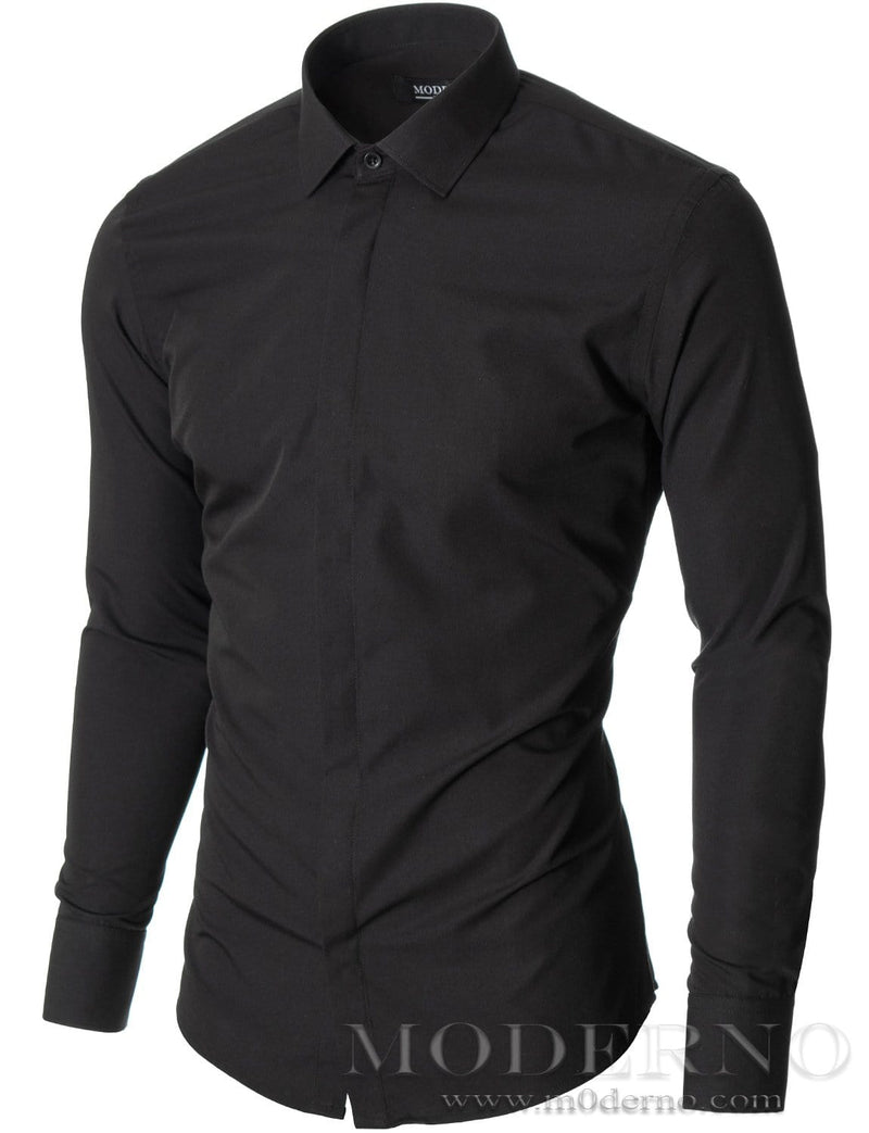 Mens dress shirt black (MOD1447LS) - MODERNO