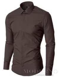 Mens dress shirt brown (MOD1447LS) - MODERNO