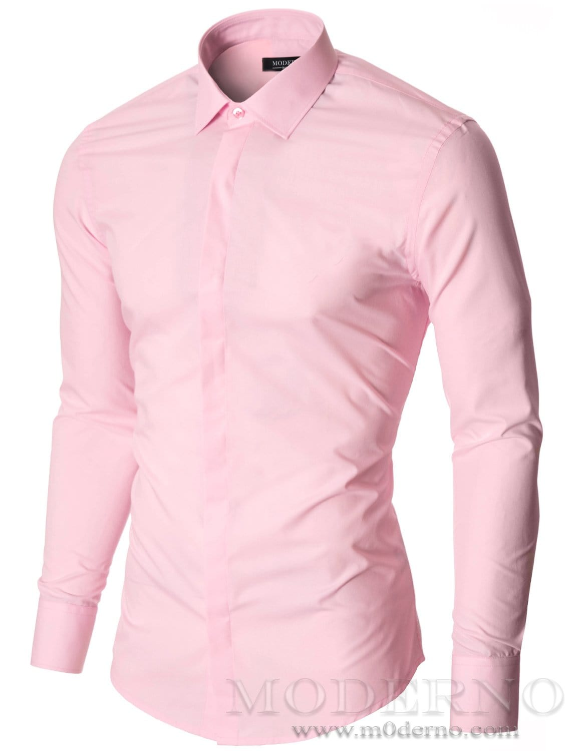 Mens dress shirt pink (MOD1447LS) - MODERNO