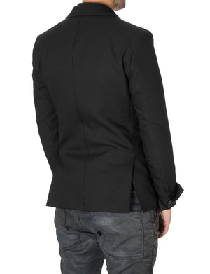 Mens Slim Fit Casual Blazer with Contrast Details Black (MOD14514B) - MODERNO
