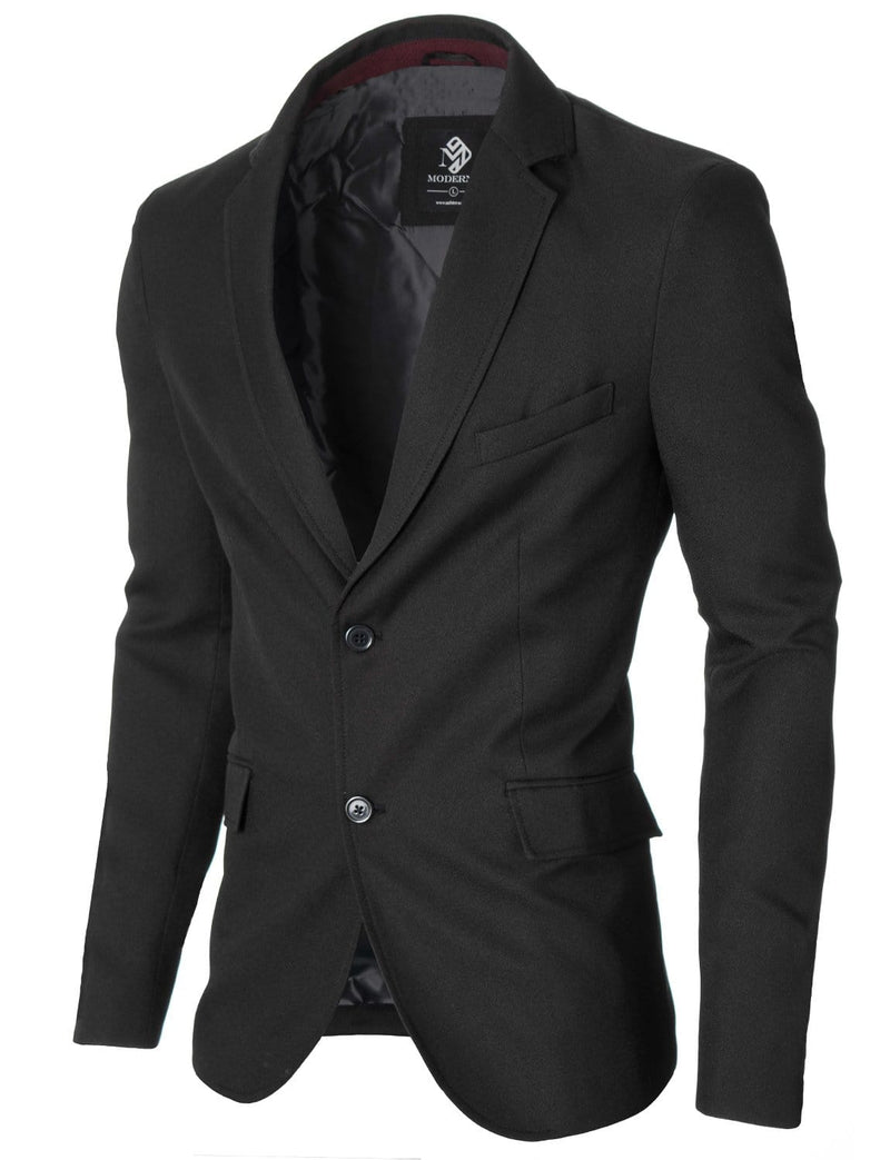 Mens Slim Fit Casual Blazer with Contrast Details Black (MOD14514B)