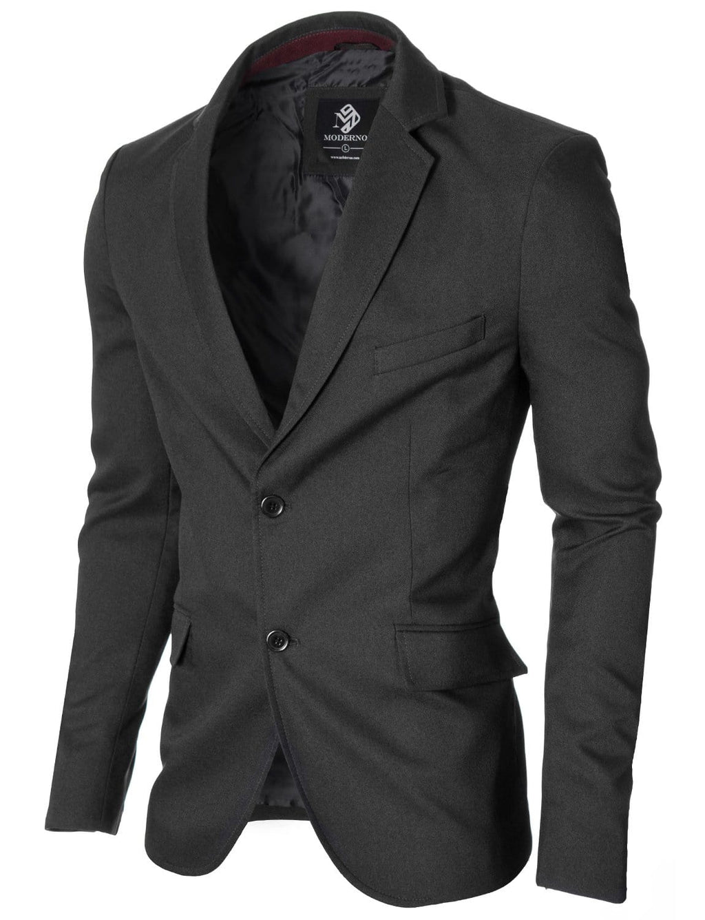 Mens Slim Fit Casual Blazer with Contrast Details Charcoal (MOD14514B)