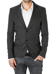 Mens Slim Fit Casual Blazer with Contrast Details Charcoal (MOD14514B) - MODERNO