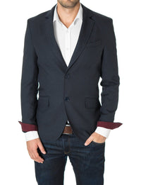 Mens Slim Fit Casual Blazer with Contrast Details Navy (MOD14514B) - MODERNO