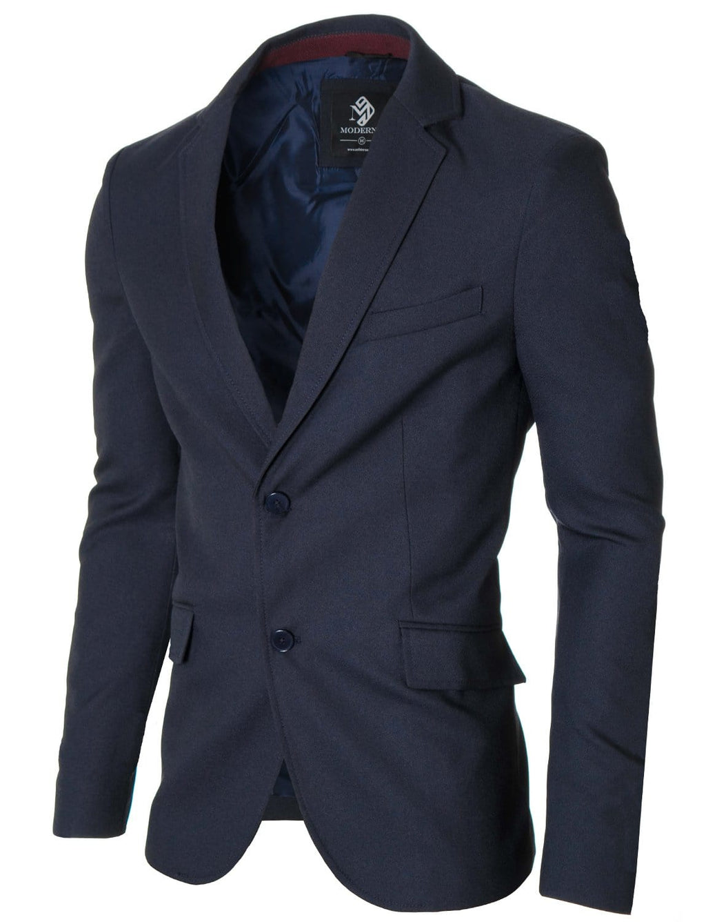 Mens Slim Fit Casual Blazer with Contrast Details Navy (MOD14514B)