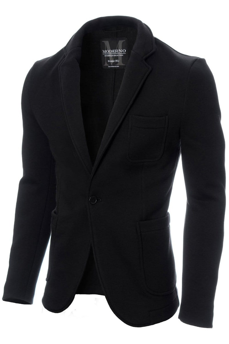 Mens casual knitted cotton blazer black (MOD14515B)