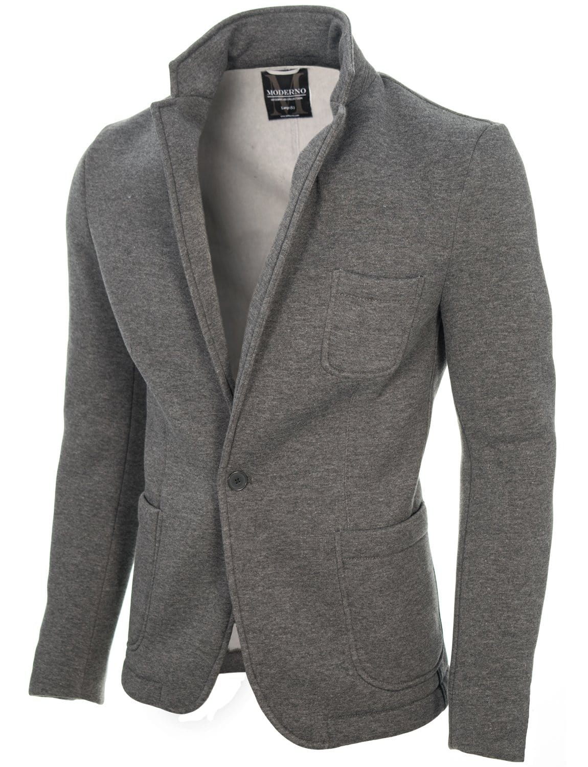 Mens Casual Knitted Cotton Blazer Dark Gray Mod14515b
