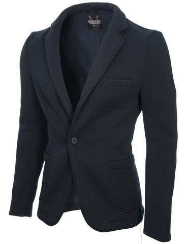 Mens casual knitted cotton blazer navy (MOD14515B)
