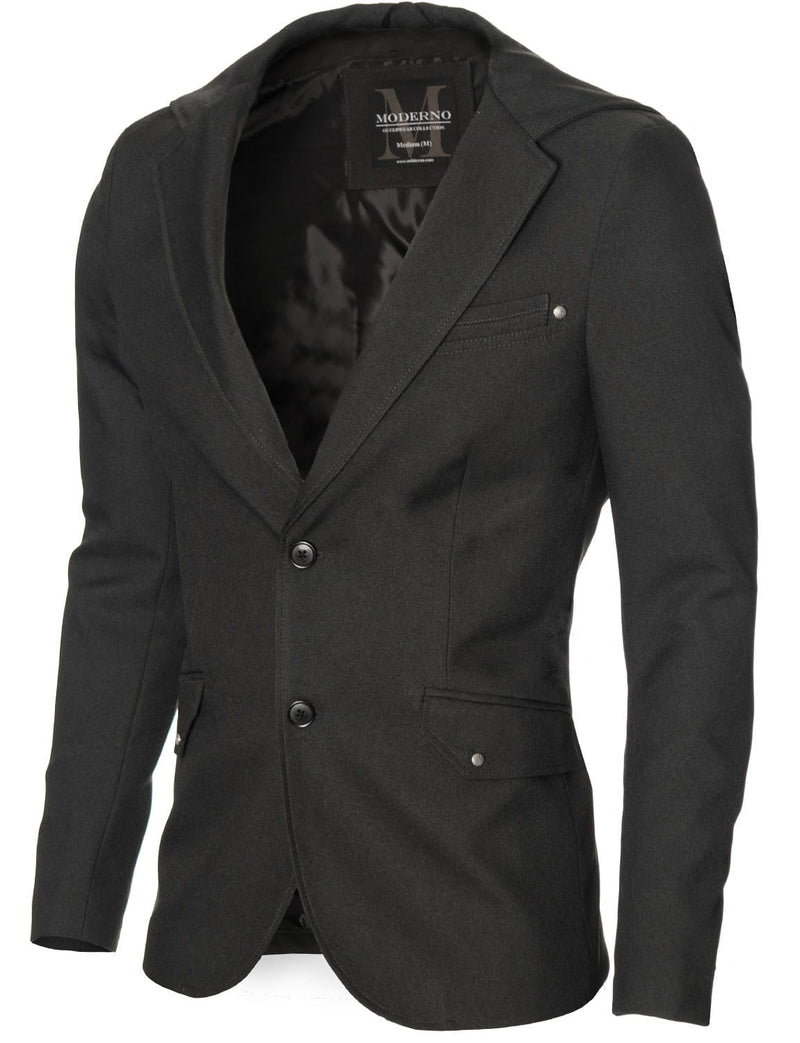 Mens casual hooded blazer charcoal (MOD14516B)
