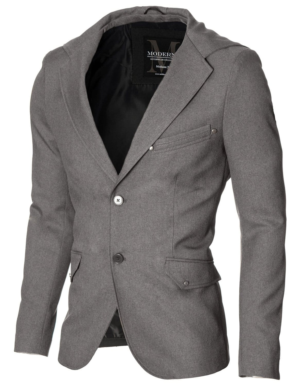 Mens casual hooded blazer gray (MOD14516B)
