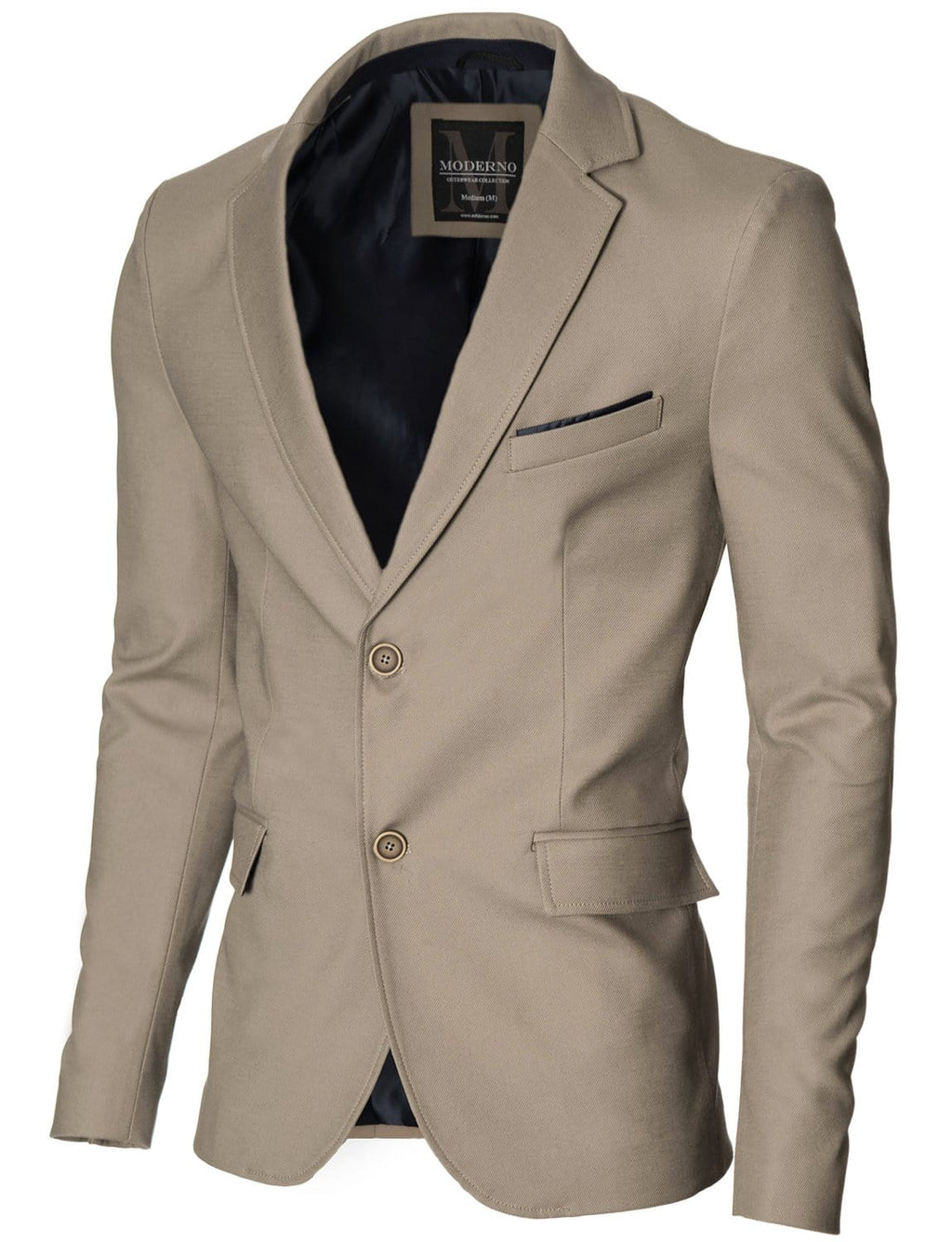 Mens slim fit 2 buttons cotton blazer sport coat beige (MOD14517B)
