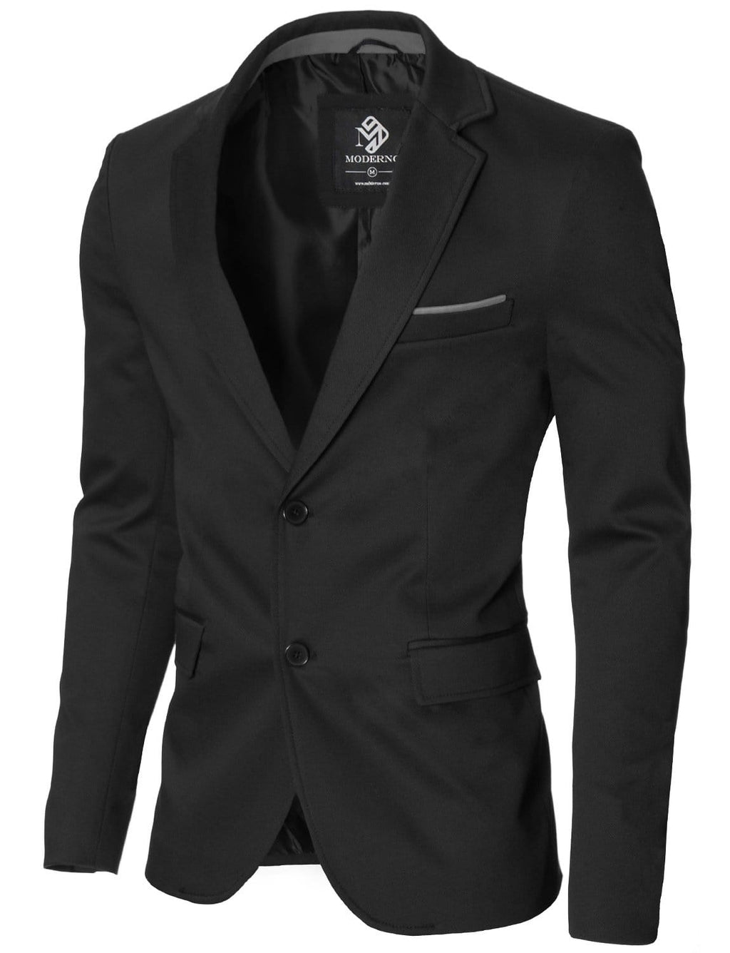 Mens slim fit 2 buttons cotton blazer sport coat black (MOD14517B)