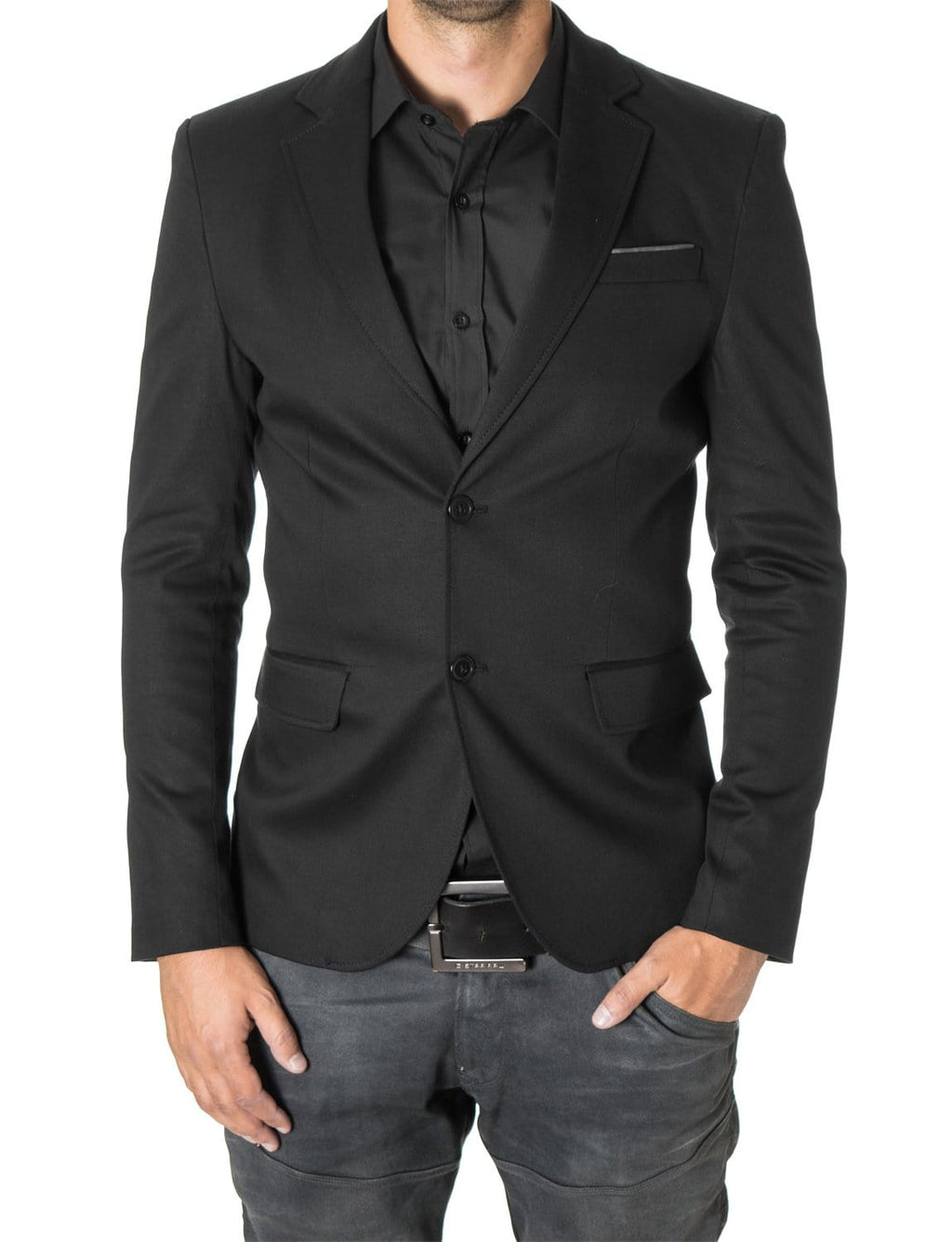 Mens slim fit 2 buttons cotton blazer sport coat black (MOD14517B) - MODERNO