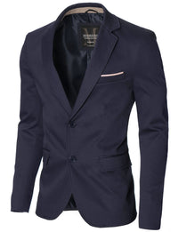 Mens slim fit 2 buttons cotton blazer sport coat blue (MOD14517B)