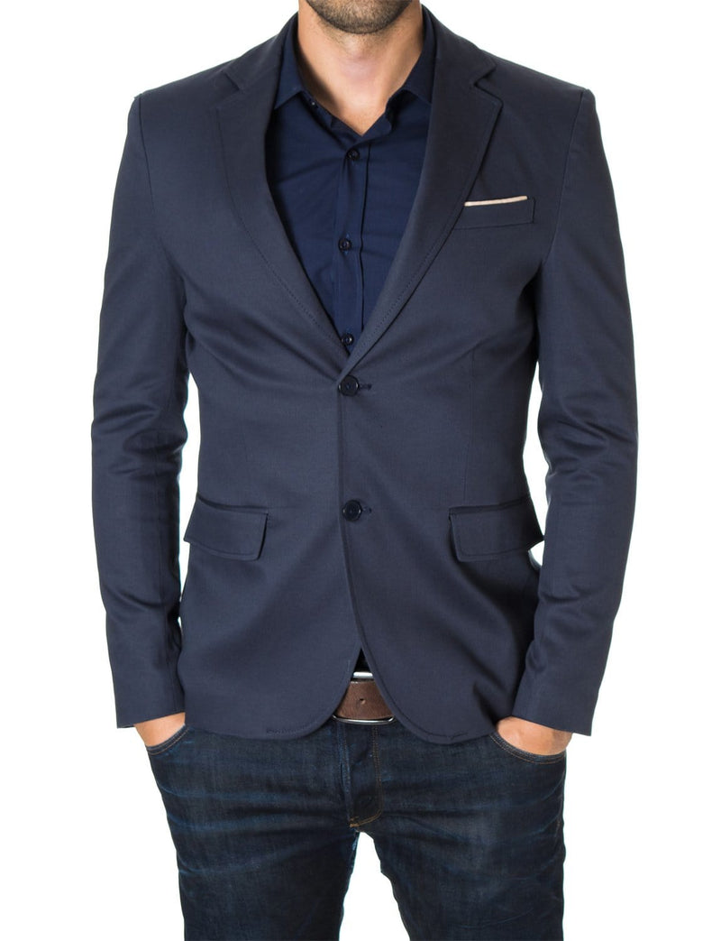 Mens slim fit 2 buttons cotton blazer sport coat blue (MOD14517B) - MODERNO