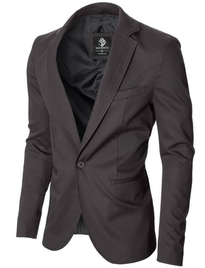Mens slim fit cotton business blazer gray (MOD14519B)