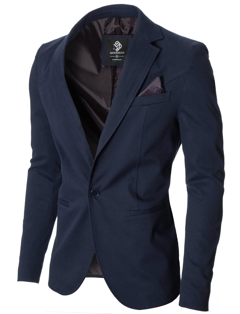 Mens slim fit cotton business blazer navy (MOD14519B)