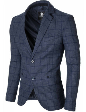 Mens slim fit casual checkered blazer navy blue (MOD14521B)