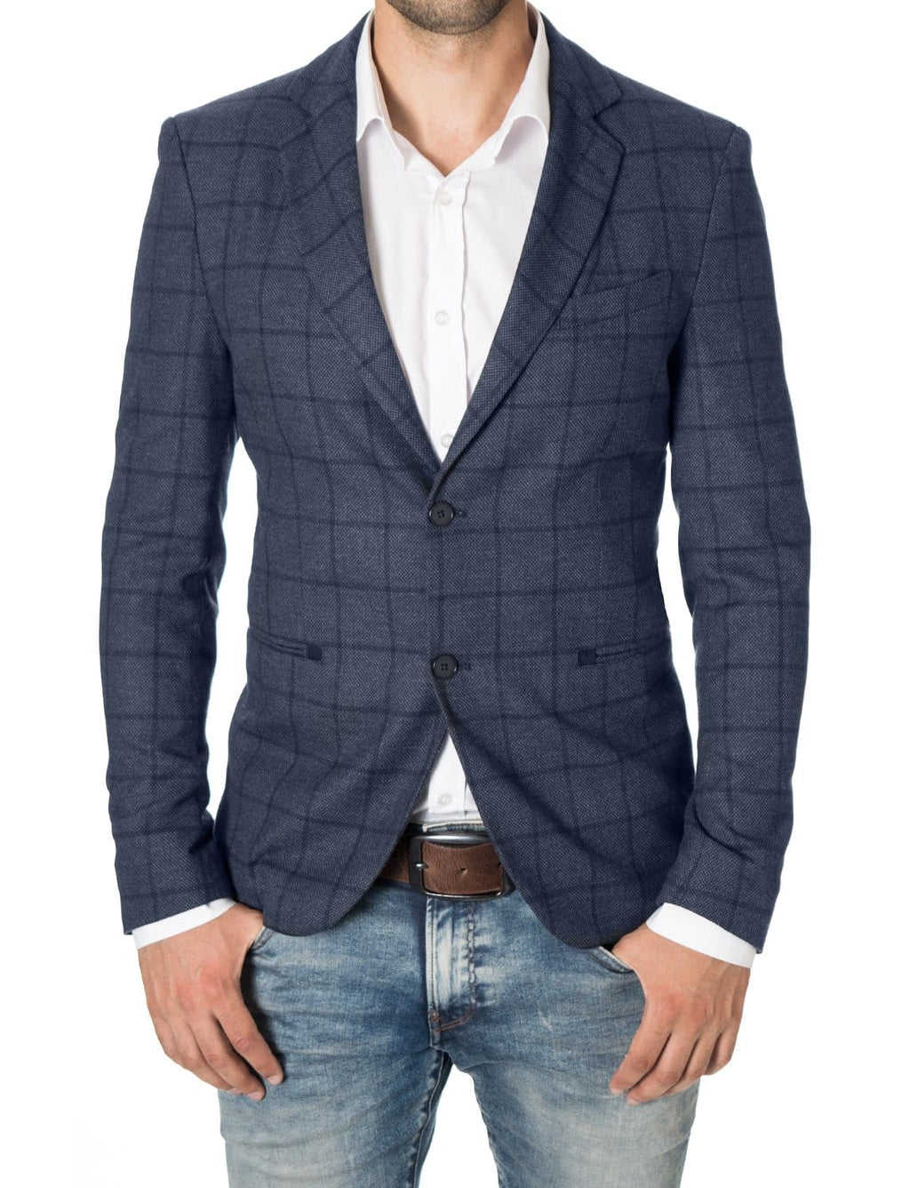 Mens slim fit casual checkered blazer navy blue (MOD14521B) - MODERNO