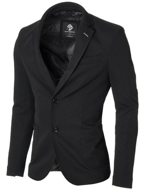 Mens slim fit blazer 2 buttons cotton sport coat black (MOD14522B)