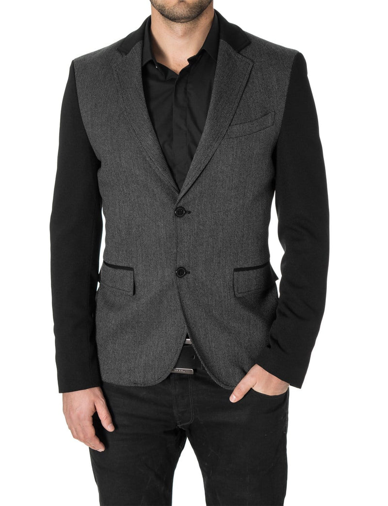 Mens blazer slim fit casual 2 tone sport coat black (MOD14523B)