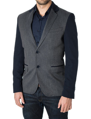 Mens blazer slim fit casual 2 tone sport coat navy (MOD14523B)