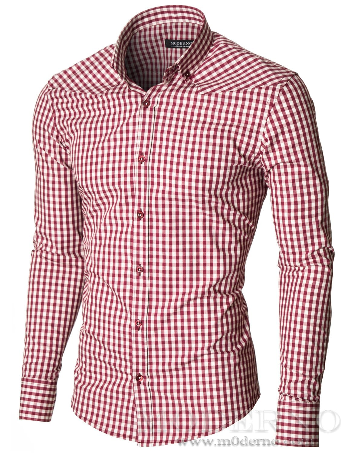 Mens casual checkered shirt red white by moderno for Pink checkered dress shirt