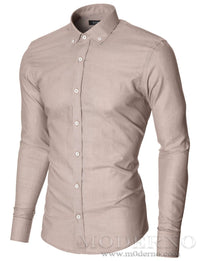 Mens slim fit dress shirt with contrast white buttons beige (MOD1459LS) - MODERNO