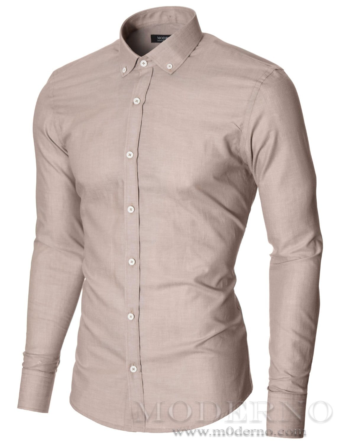 Mens Slim Fit Dress Shirt With Contrast White Buttons Beige By