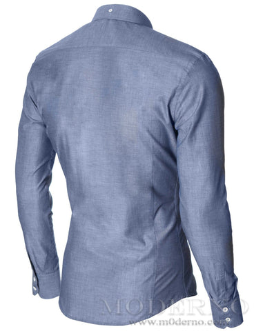 Mens slim fit dress shirt with contrast white buttons blue (MOD1459LS) - MODERNO