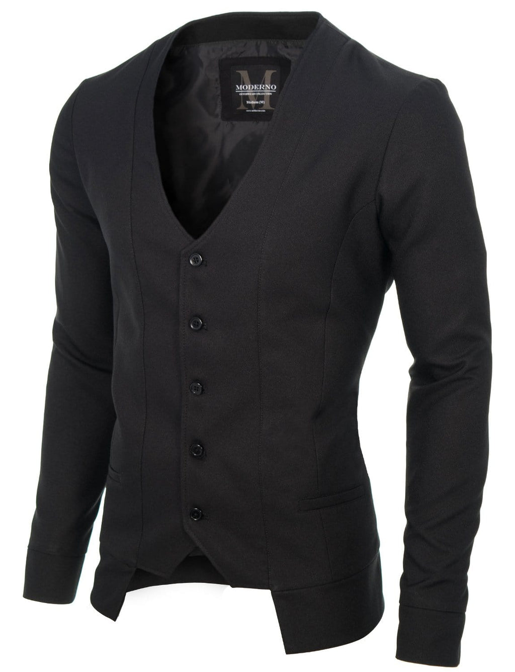Mens slim fit long sleeve vest cardigan black (MOD16130V)
