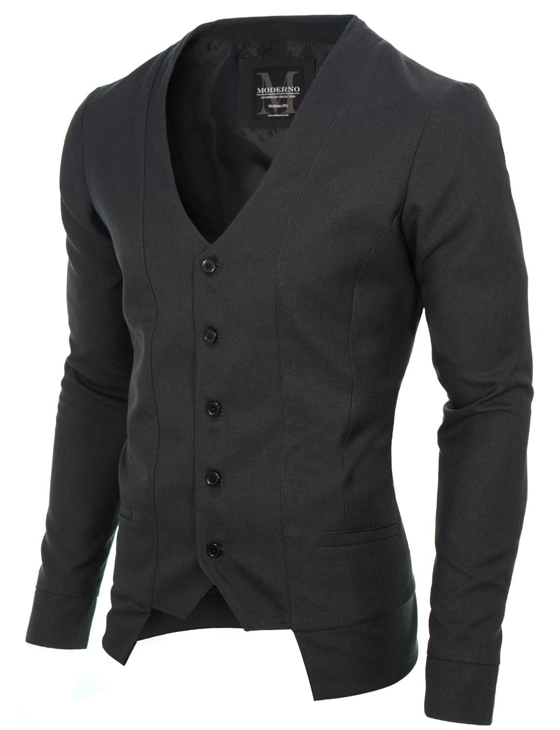 Mens slim fit long sleeve vest cardigan charcoal (MOD16130V)
