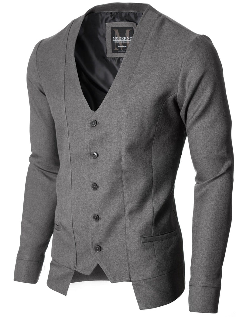 Mens slim fit long sleeve vest cardigan gray (MOD16130V)