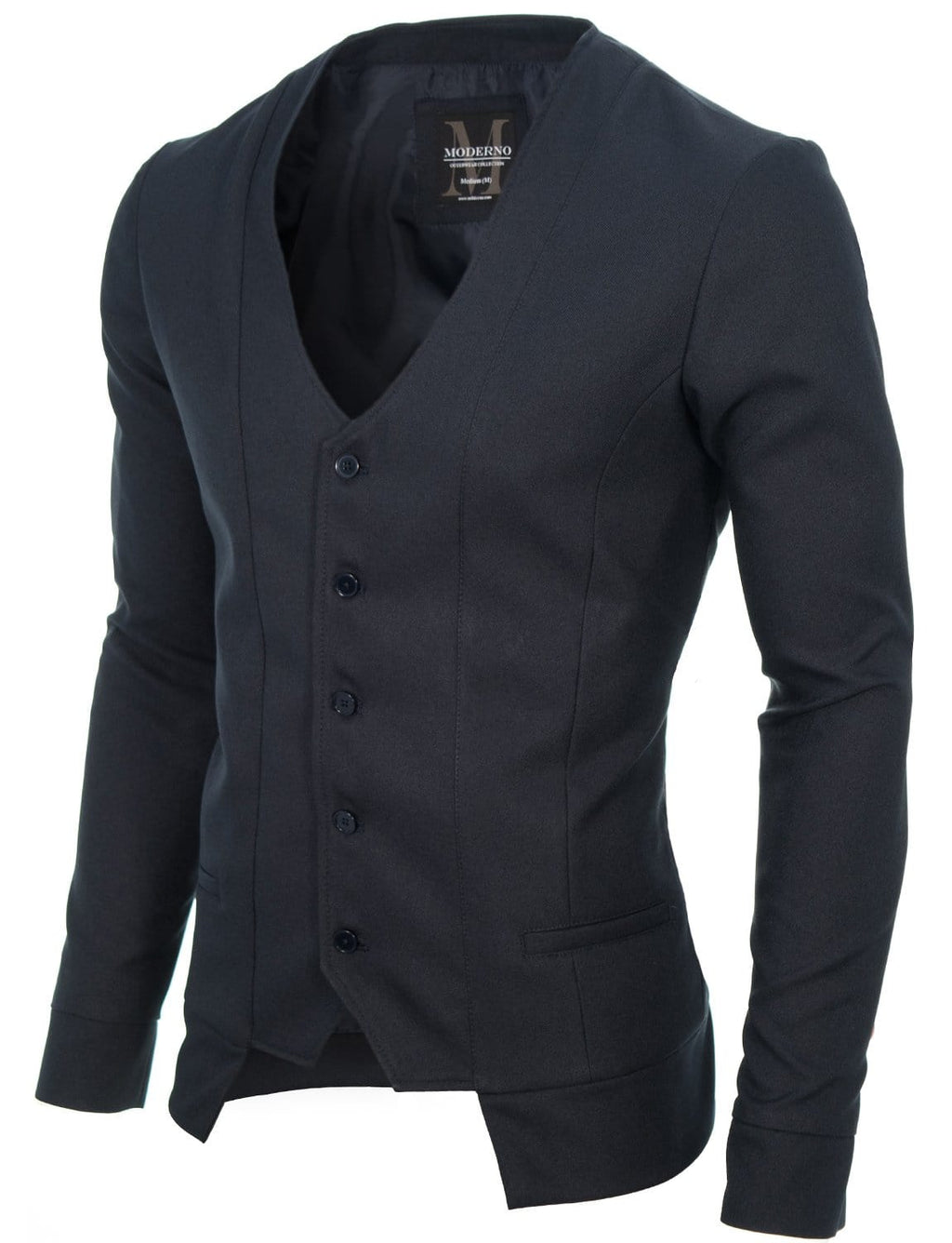 Mens slim fit long sleeve vest cardigan navy (MOD16130V)