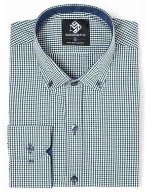 Mens Checkered Dress Shirt Green (MOD1728LS)