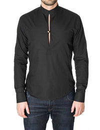 Mens long sleeve mao collar henley shirt black (MOD1800LS)
