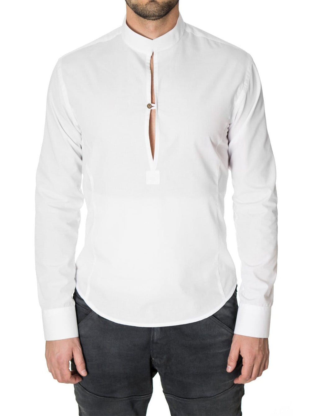 Mens long sleeve mao collar henley shirt white (MOD1800LS)