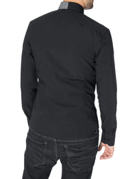 Mens fitted dress shirt long sleeve mao collar black (MOD1801LS)