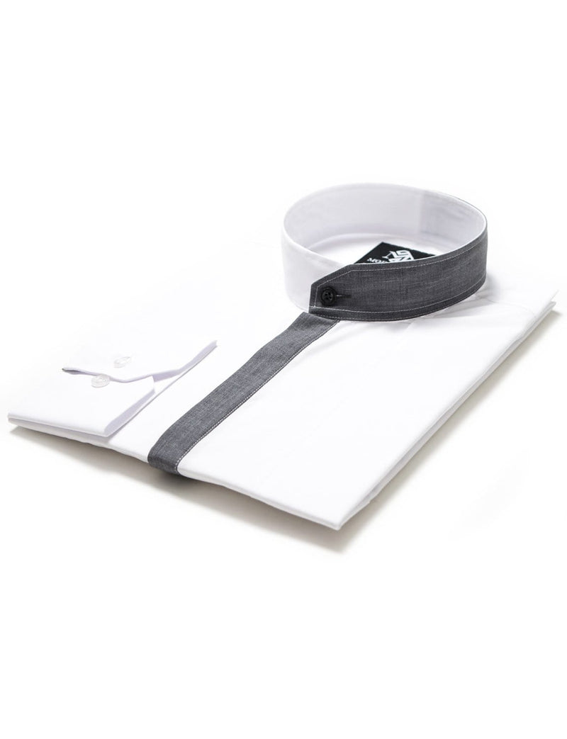 Mens fitted dress shirt long sleeve mao collar white (MOD1801LS)