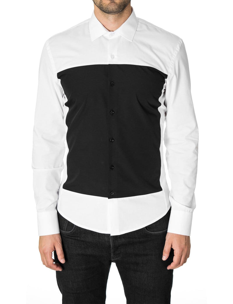 Mens casual dress shirt slim fit long sleeve white (MOD1802LS)