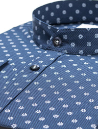 Mens slim fit mao collar printed dress shirt navy (MOD1805LS)