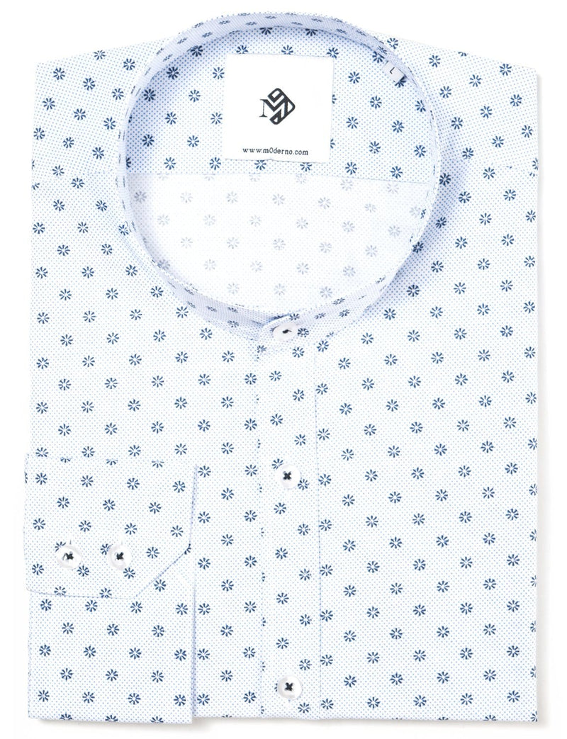 Mens slim fit mao collar printed dress shirt white (MOD1805LS)