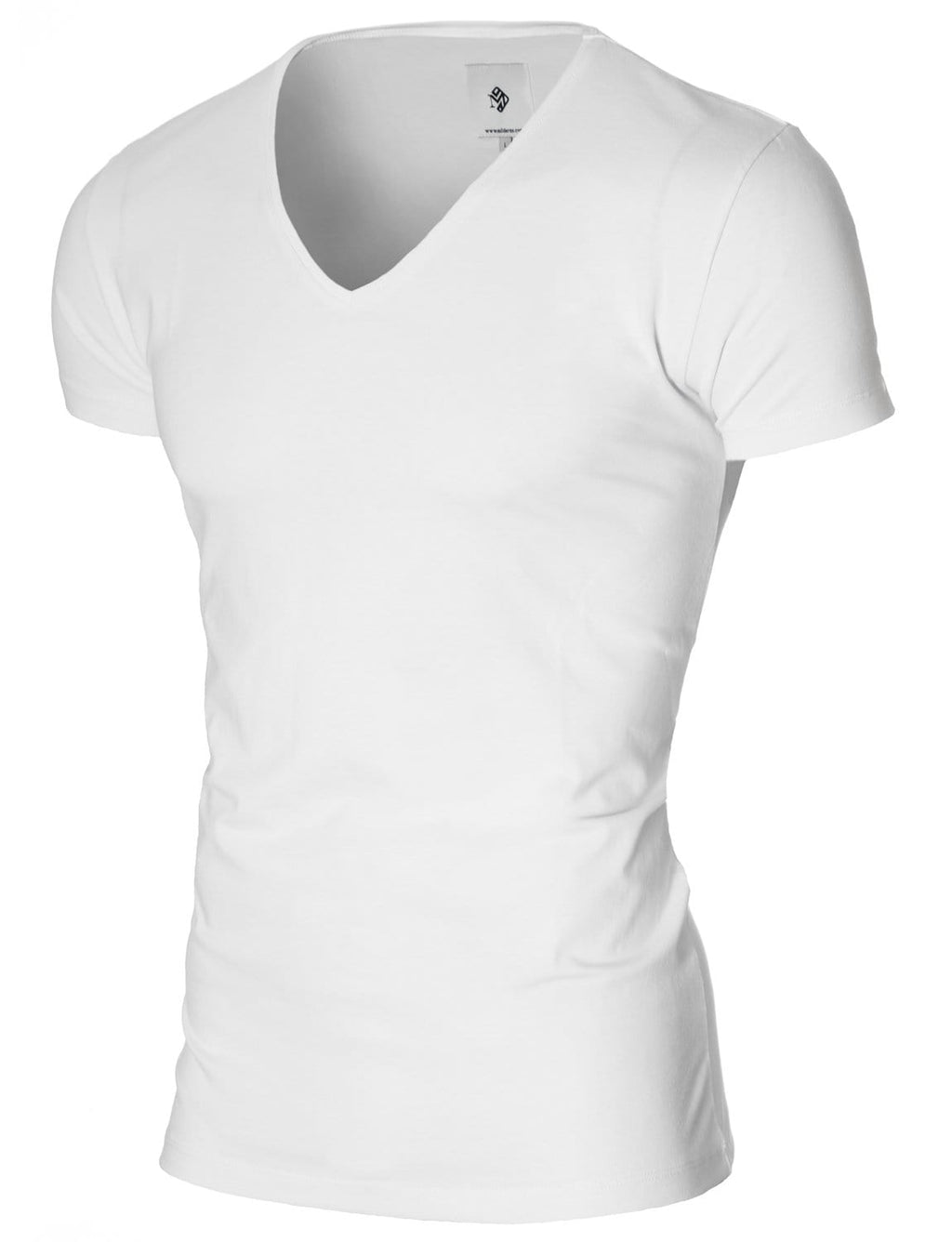 Mens basic V-neck t-shirt white (MOD2001VN)