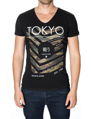Mens printed graphic t-shirt black (MOD2008VN)