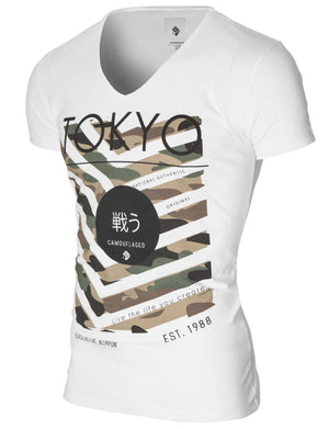 Mens printed graphic t-shirt white (MOD2008VN)