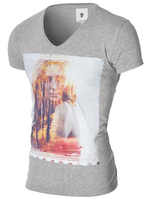 Mens Graphic Tee Beautiful Forest Woman Gray (MOD2011VN)