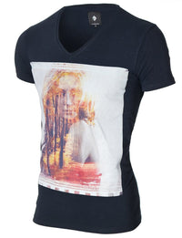 Mens Graphic Tee Beautiful Forest Woman Navy (MOD2011VN)