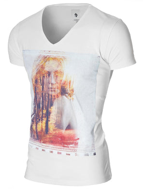 Mens Graphic Tee Beautiful Forest Woman White (MOD2011VN)