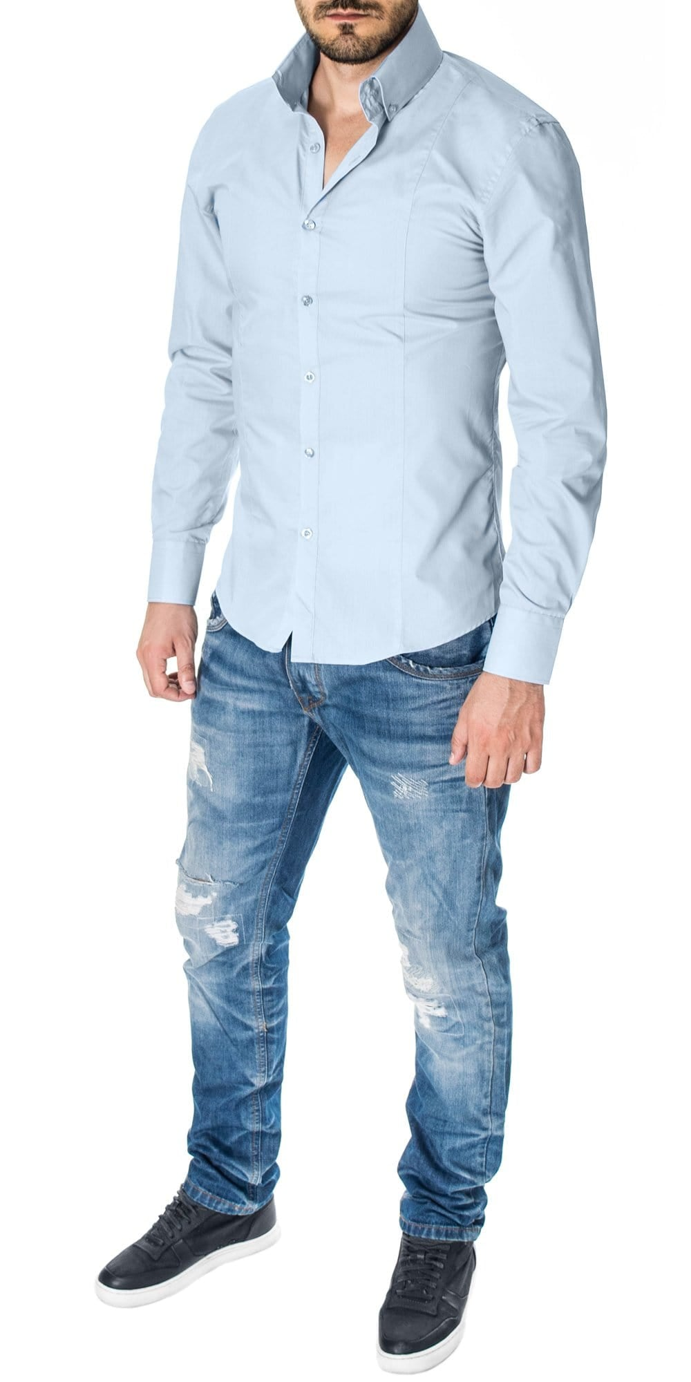 Mens Light Blue Dress Shirt Slim Fit With Oversized High Collar By