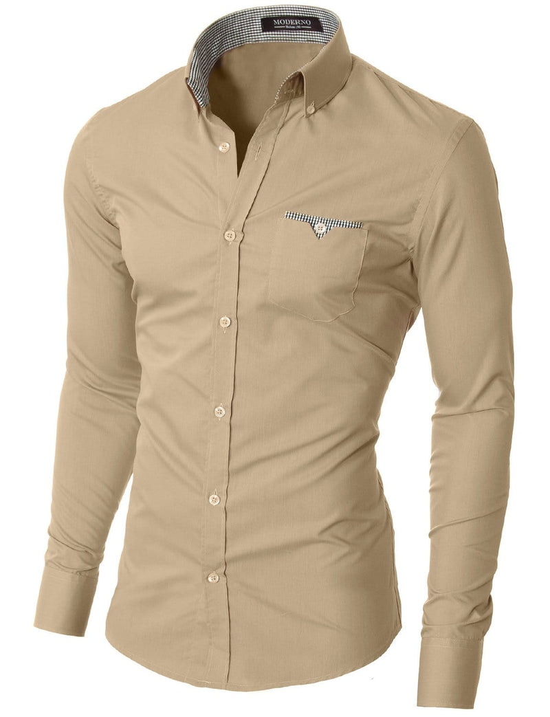 Mens slim fit long sleeve button down casual shirt beige (VGD063LS) - MODERNO